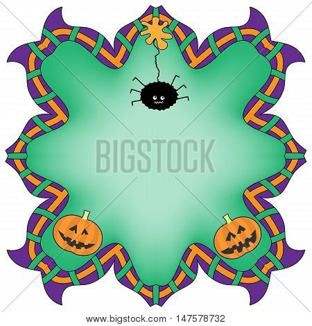 Colorful Halloween Background with Spider and Pumpkins