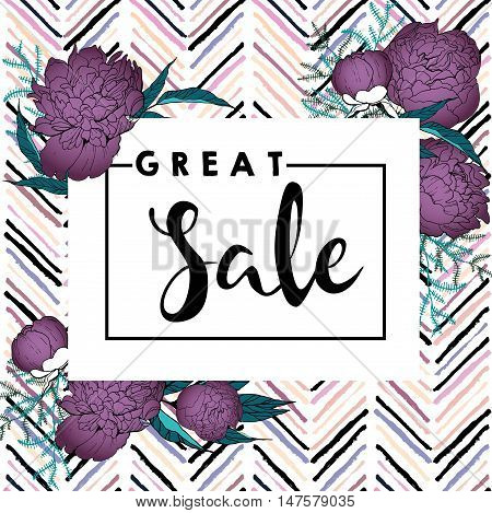 Vector banner for great sale. Square text template. Purple peonies and chevron modern brush spot in trendy pastel colors. Use for business fashion promotion.