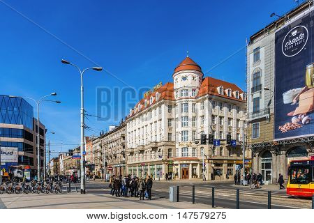WROCLAW, POLAND - MARCH 19, 2016: View of Pilsudski street in Wroclaw the largest city in western Poland and the capital of the Lower Silesian Voivodeship situated on the Oder River.