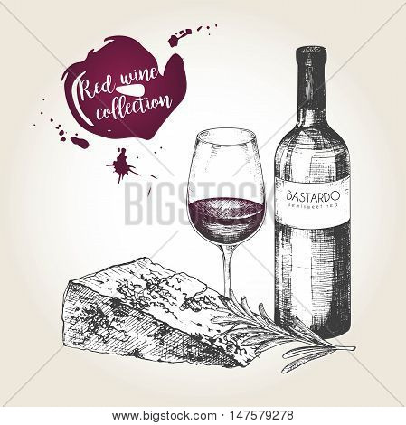 Vector set of red wine collection. Engraved vintage style. Bottle glass cheese and rosemary. Isolated on grunge background. Deorated with lettering and blots. Use for restaurant cafe store food menu design.