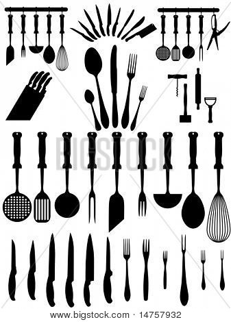 silhouettes of kitchen accessories, cutlery, various types of knives ...