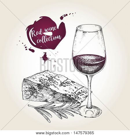 Vector set of red wine collection. Engraved vintage style. Glass cheese and rosemary. Isolated on grunge background. Deorated with lettering and blots. Use for restaurant cafe store food menu design.