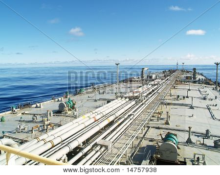 very large crude carrier transporting oil over ocean