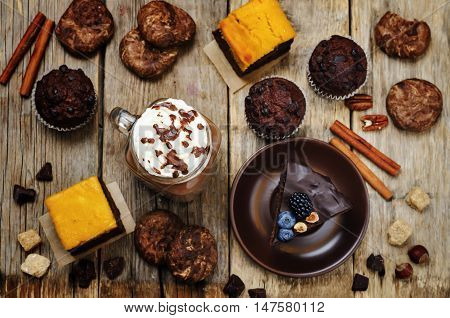 List of chocolate dishes. Cheesecake muffins cookies pumpkin brownies hot chocolate.