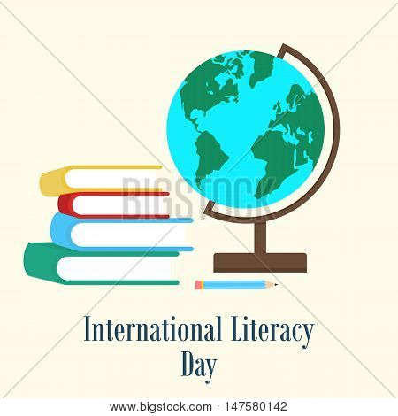 Books and earth globe. International literacy day concept