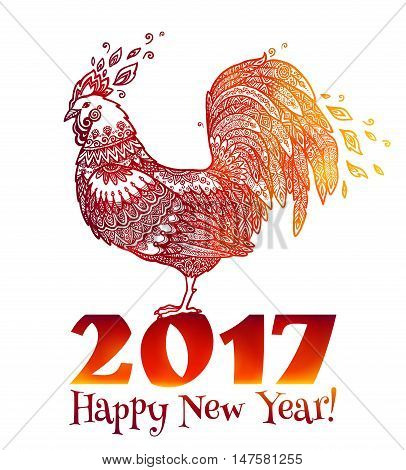 Red doodle style fire colors rooster - Chinese symbol of New Year 2017, Year of fiery Rooster