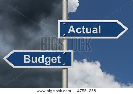 Actual versus what was budgeted Two Blue Road Sign with text Actual and Budget with bright and stormy sky background, 3D Illustration