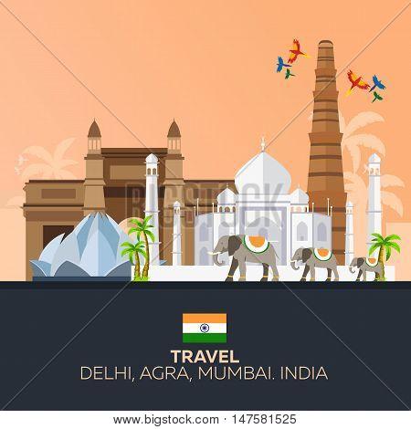 Travelling illustration Indian. Modern flat design. Indian elephant. Taj mahal, Lotus temple, gateway of India, Qutab Minar