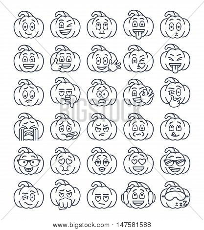 Halloween pumpkin thin line emoji emoticons. Linear smiley face holiday symbol flat vector icons.