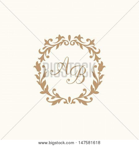 Elegant floral A B  monogram design template for one or two letters . Wedding monogram. Calligraphic elegant ornament.