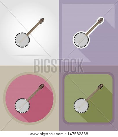 banjo flat icons vector illustration isolated on background