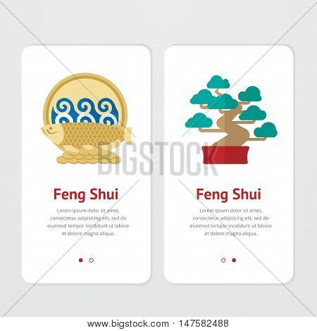 Element, symbol of feng shui in flat design:  water, fish, bonsai, coins. Web design banner, layout. Concept