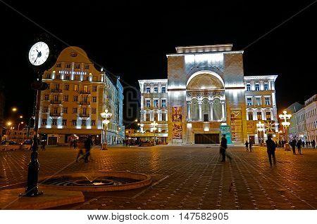TIMISOARA ROMANIA - APRIL 1 2016: Night view of the illuminated Opera building in Victory Square. European capital of culture in 2021.