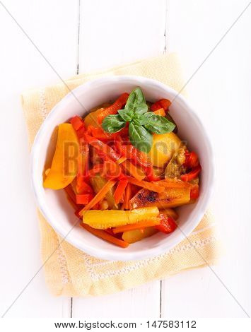 Vegetable stew - potato carrot courgette and red pepper