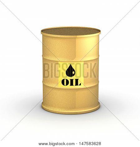 Golden Barrel Oil on white background 3D illustration.