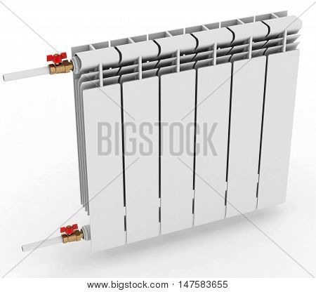 radiator to heat the room on a white background. 3D illustration