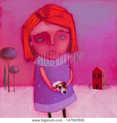 Illustration of a girl and a puppy in her arms.