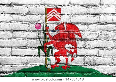 Flag Of Cardiff, Wales, Uk, Painted On Brick Wall