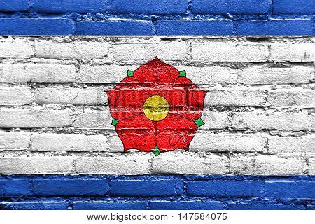 Flag Of Cesky Krumlov, Czechia, Painted On Brick Wall