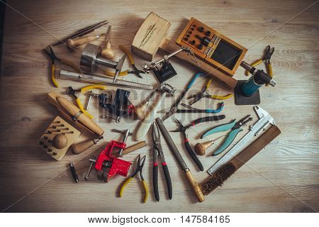 different professional tools for making handmade jewelery
