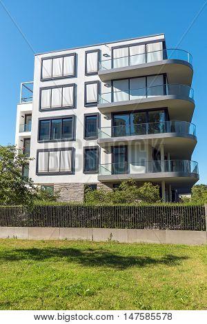 Modern apartment building seen in Berlin, Germany