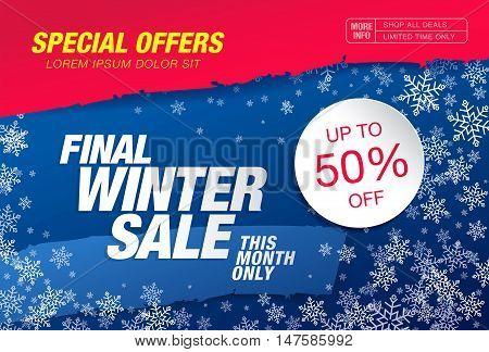 Special offers. Final winter sale banner. Banner template design