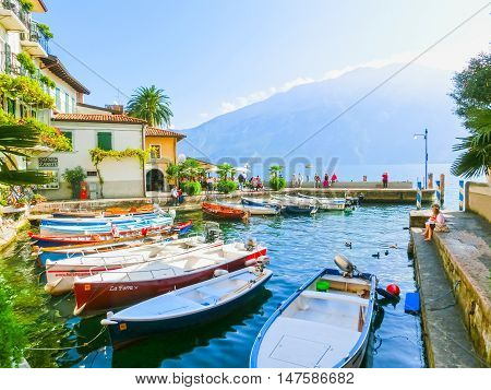 Limone sul Garda, Italy - September 21, 2014: The famous Village of Limone sul Garda on Lake Garda, Italy