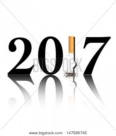 New Year's resolution Quit Smoking concept with the 1 in 2017 being replaced by a stubbed out cigarette. EPS10 vector format.