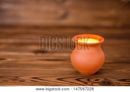 Concept Greeting Card Of Clay Pot On Wooden Background, Art Design, Copy Space, Rural Style, Close U
