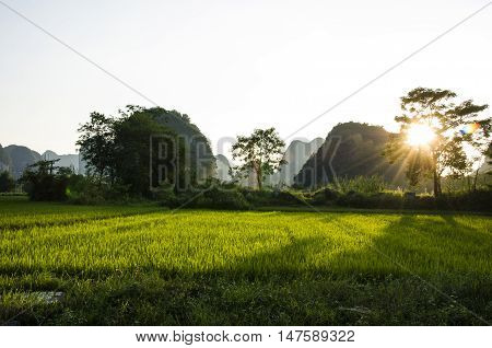 Karst mountains and rural scenery in spring