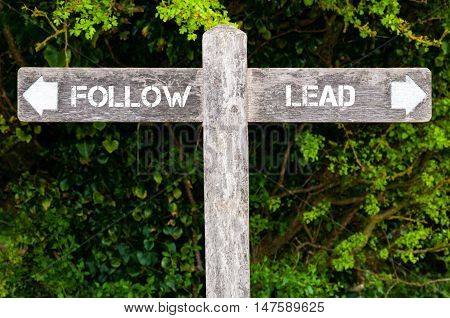 Follow Versus Lead Directional Signs