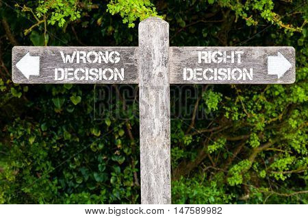 Wrong Decision Versus Right Decision Directional Signs
