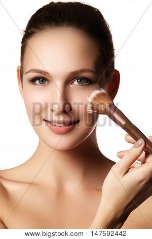 Beauty Model With Makeup Brush. Bright Make-up For Brunette Woma