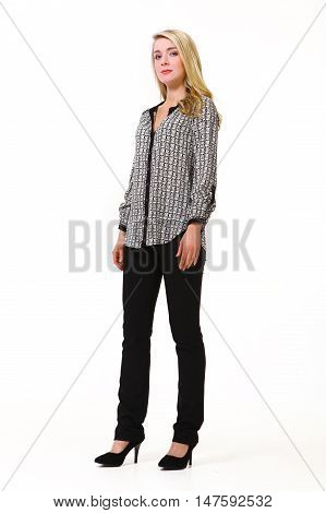 woman with straight hair style in classical official jacket and black trousers high heel shoes going full body length isolated on white