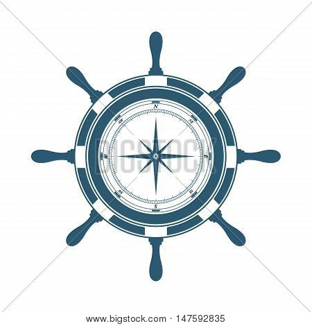Navigation equipment steering wheel and compass on a white background. Vector illustration.