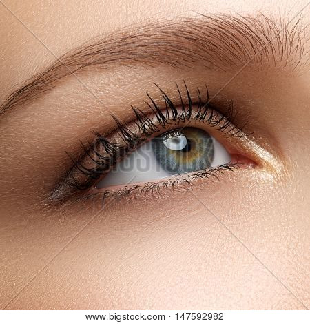 Beauty Model With Perfect Fresh Skin And Long Eyelashes. Youth A
