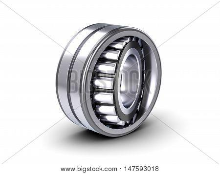 Roller bearing on a white background. 3D illustration.