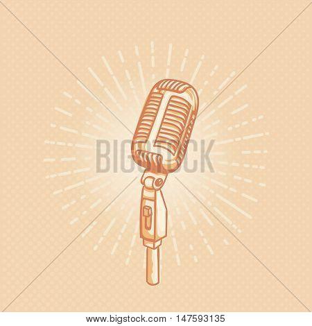 Retro golden microphone. Hand drawn retro illustration with sunburst. Suitable for banner, ad, t-shirt design. Vintage design element