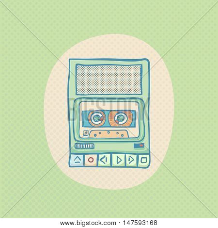 Cassette tape recorder. Handheld tape recorder, hand drawn retro illustration with halftone. Suitable for banner, ad, t-shirt design. Vintage design element