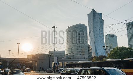 Warsaw city center at sunset in big town