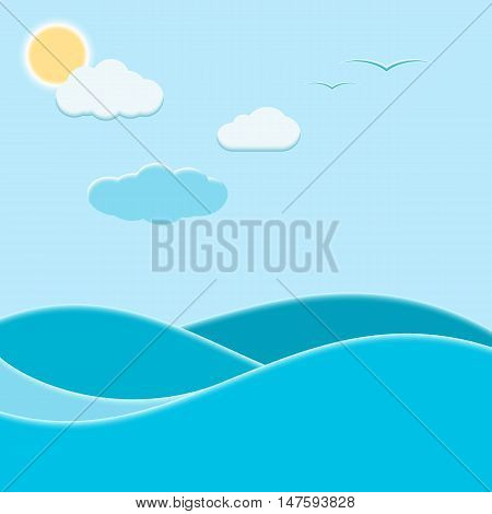 Abstract marine background. Sea waves clouds sun and seagulls. Vector illustration.