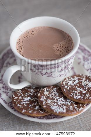 Assorted wheat cookies with chocolate ganache and freshly shredded coconut and a cup of hot cocoa on a dessert plate, selective focus