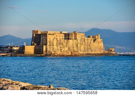View of Dell'Ovo Castle from seafront Francesco Caracciolo. Naples, Italy.