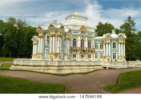 23.06.2016.Russia.Pushkin.The building of the Hermitage is the cultural heritage of the country.