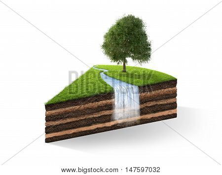 3d illustration of cross section of ground with grass isolated on white. 3D rendering