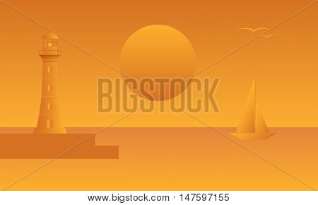 Seascape. Lighthouse pier sailboat against a background of sea sunset. Vector illustration.