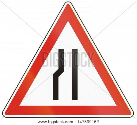 Hungarian Warning Road Sign - Road Narrows On The Left Side