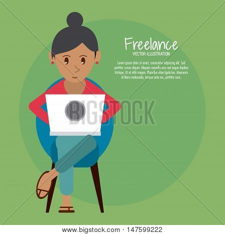 Cartoon woman sitting with laptop. Work at home and freelance theme. Colorful design. Lamp and Chair as background. Vector illustration