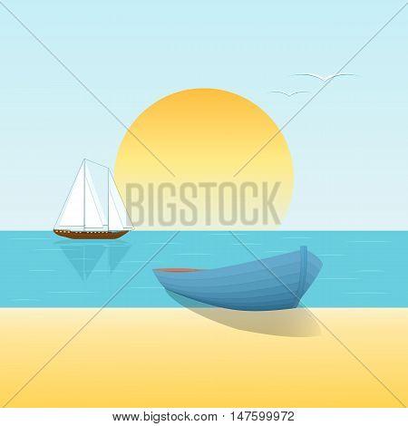 Seascape beach boat sailboat at sunset. Vector illustration.