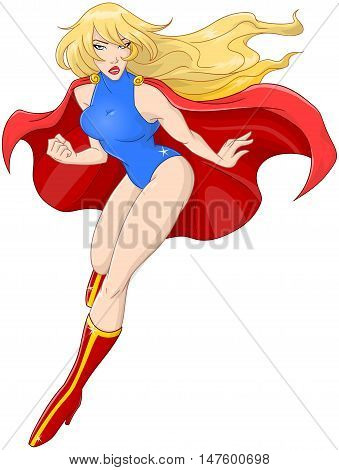 Vector illustration of a woman super hero flying with red cape.